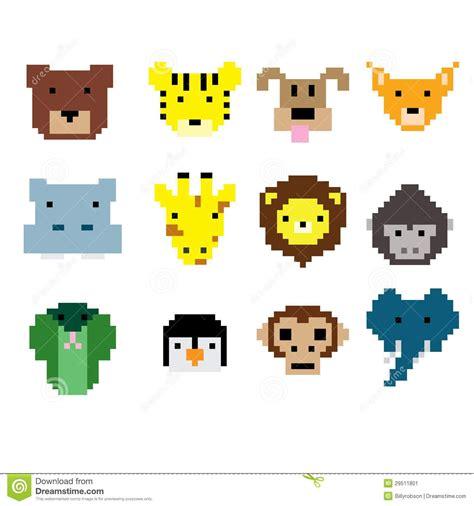 pixel art animal faces stock image image