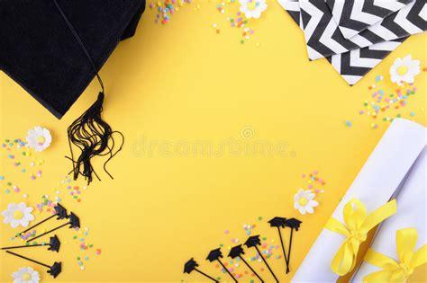 Graduate Background Yellow Black And White Theme Graduation Background Stock