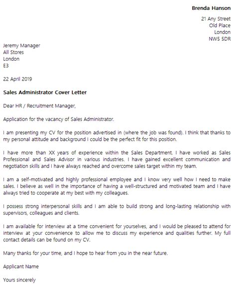 Cover Letter For An Administrator by Sales Administrator Cover Letter Exle Icover Org Uk