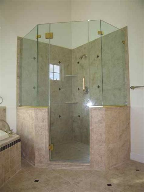 Frameless shower enclosure, neo angle with extra panels