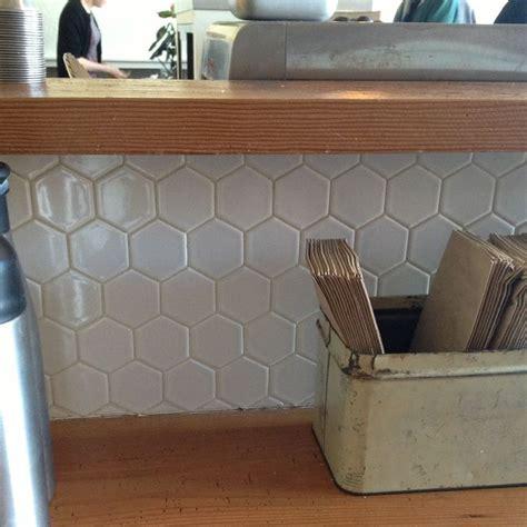 large white hexagonal tile backsplash hodge podge