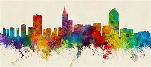 Raleigh North Carolina Skyline Panoramic Digital Art by