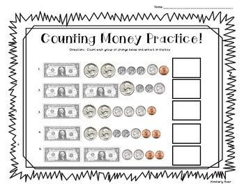 counting money practice worksheet coins and dollar bills by 4 little baers