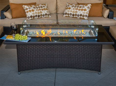 Gas fire pit coffee table firepit propane. Outdoor Greatroom Montego 59'' Wide Wicker Rectangular ...