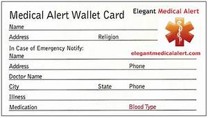 free medical id wallet card With medical alert card template