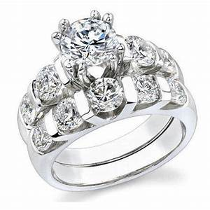tension set large diamond curved 8 prong engagement ring With large wedding ring sets