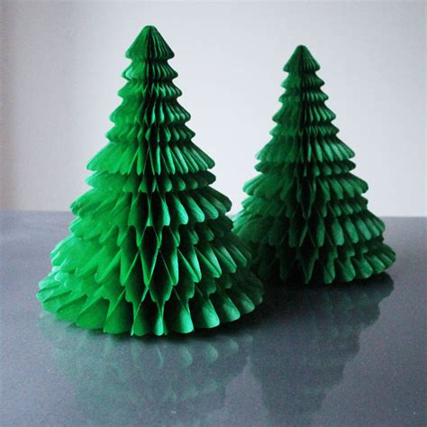 tissue paper christmas tree decoration by pearl and earl