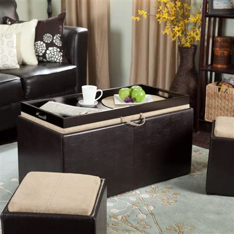 Using An Ottoman As A Coffee Table by 36 Top Brown Leather Ottoman Coffee Tables