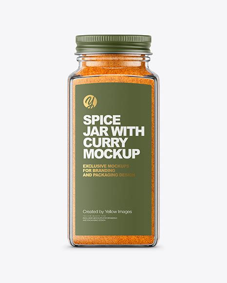 2,000+ vectors, stock photos & psd files. Spice Jar with Curry Mockup in Jar Mockups on Yellow ...