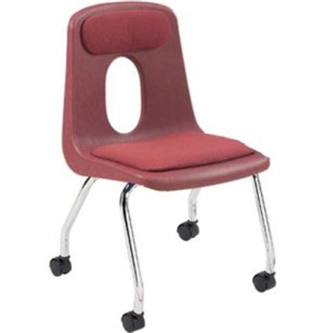 poly shell classroom chair casters padded 18 quot h
