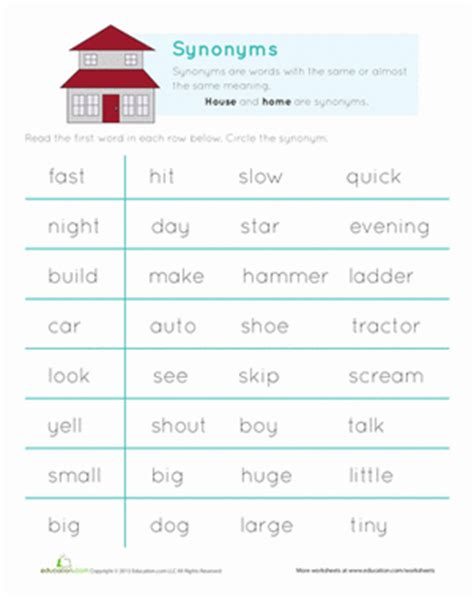 Vocabulary Builder Synonyms  Worksheet Educationcom