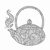 Coloring Teapot Tea Abstract Pages Fun Pdf Open sketch template