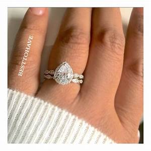 true love 925 silver halo teardrop wedding engagement ring set With create wedding ring set