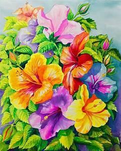 Cuadros Modernos Pinturas y Dibujos : Flores en Acuarela Pintura, Janis Grau, USA
