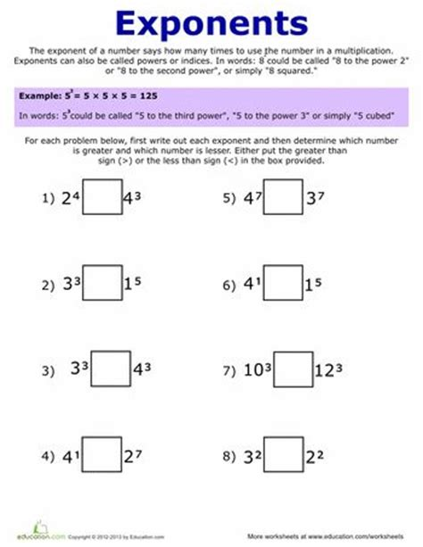 best 25 exponents practice ideas on order of