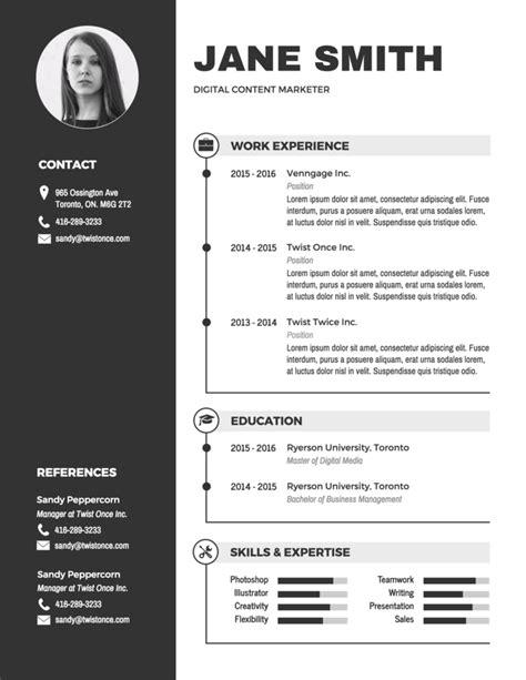 modern black  white resume template venngage