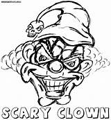 Clown Scary Coloring Colorings sketch template
