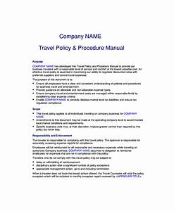 Company Policies And Procedures Template 9 Travel Policy Templates Sample Templates