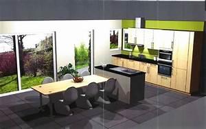 Ilot Cuisine Table : cuisine ouverte avec ilot table galerie avec cuisine ~ Teatrodelosmanantiales.com Idées de Décoration