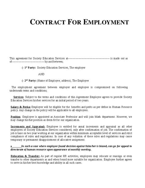 Template For Employment Contract | printable schedule template