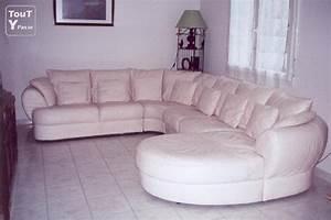 canape 9 places avec meridienne en cuir blanc rose moselle With prix canapé cuir center 3 places