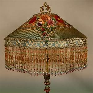 Nightshades antique french chenille windowbox lamp and for Antique floor lamp with fringed shade