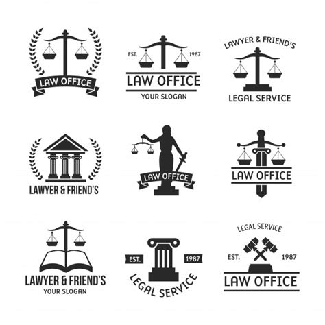 law logo set silhouette vector premium download