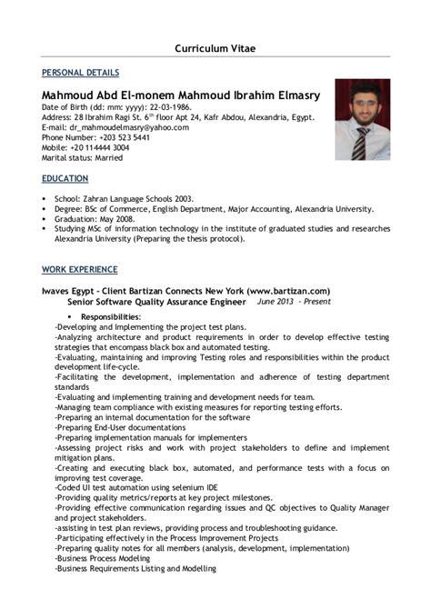 Curriculum Vitae Quality Assurance Manager by Mahmoud Elmasry Cv Senior Software Quality Assurance