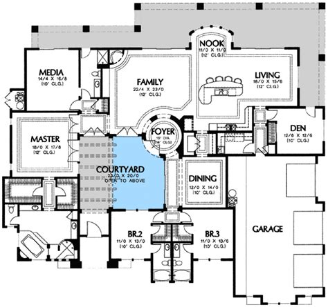 courtyard houseplan plan wmd luxury corner lot tuscan southwest mediterranean