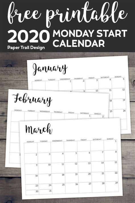 printable  calendar monday start monthly