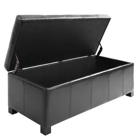 ottoman for foot of bed blanket box ottoman storage pu leather foot stool large