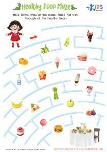 healthy food maze printable healthy food activities