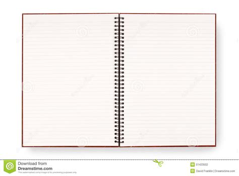 blank open spiral writing book  notepad lined paper isolated  white background stock photo