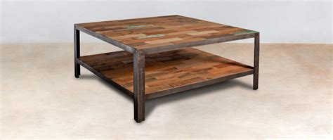 table basse carr 233 e 2 plateaux en bois recycl 233 s industryal