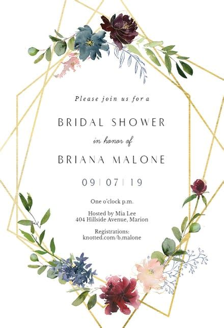 geometric flowers bridal shower invitation template