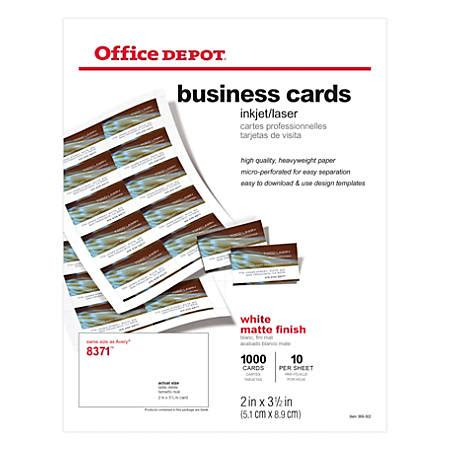 office depot business card office depot brand matte business cards 2 x 3 12 white pack of 1000 by office depot officemax