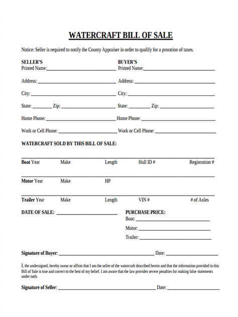 sample watercraft bill  sale forms  word