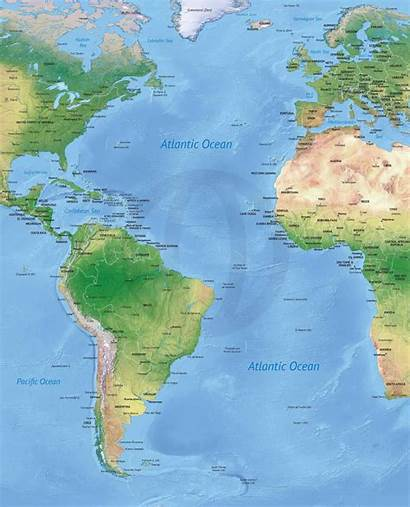 Atlantic Ocean Map Maps Political Shaded Relief