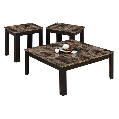 marble top coffee table set 3 piece faux marble top coffee table set in cappuccino i