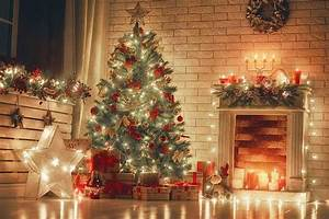 tree fireplace indoor fabric backdrop for