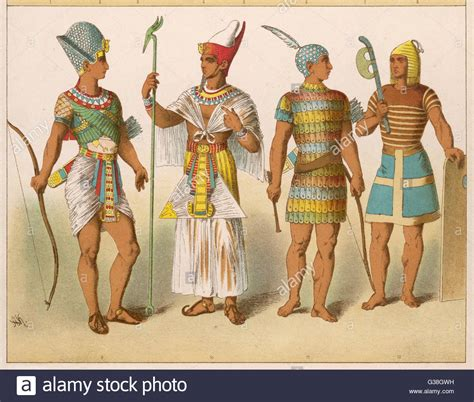 Various Egyptian Costumes Kings In War And Ceremonial