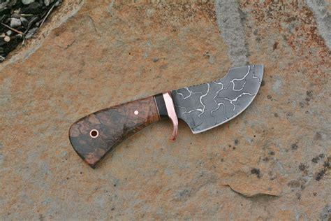 skinning knife designs custom 3 finger skinning knife spalted hackberry