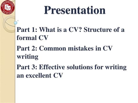 resume format presentation on cv writing