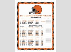 Printable 20172018 Cleveland Browns Schedule