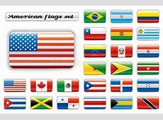 Extra Glossy Button Flags America Stock Vector Image