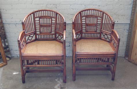 pair  brighton pavilion style rattan club chairs