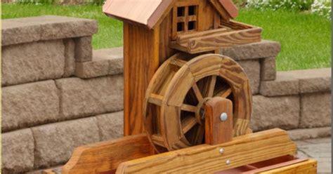 details  amish water wheel fountain wooden garden