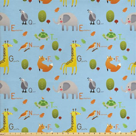 alphabet fabric   yard continuous funny pattern  animals  trees  letters