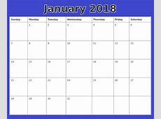 January 2018 Calendar Word Document Printable Templates