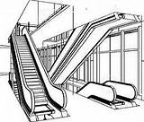 Escalator Clipart Escalators Coloring Pages Clipground Getcolorings Template Sketch sketch template